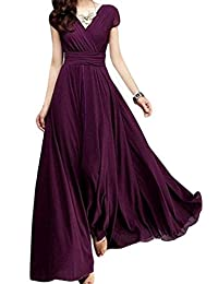 Women Elegant Short Sleeve V Neck Fit&flared Maxi Swing Party Dress