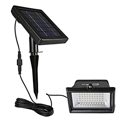 Findyouled Solar Flood Lights Outdoor Landscape Lighting 60 LED/120 Lumen Cast Aluminium Wall/In-ground Lights, 2-in-1 Adjustable Light with a 16.4ft Cable, Auto On/Off (Warm White)
