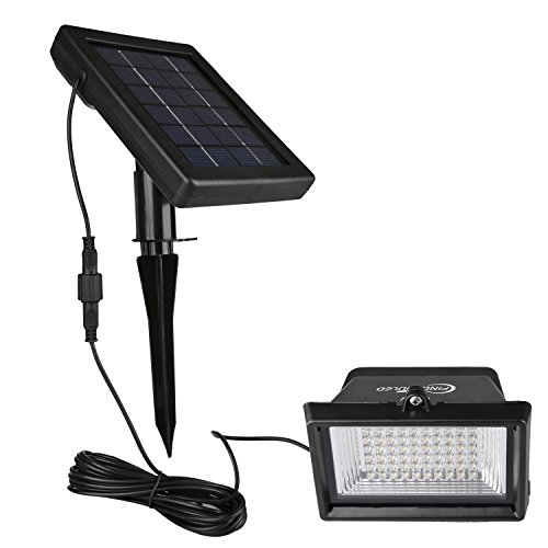 findyouled Solar Flood lights Outdoor Landscape Lighting 60LED/120Lumen Cast Aluminium Wall/In-ground Lights, 2-in-1 Adjustable Light with a 16.4ft Cable, Auto On/Off (Warm White)