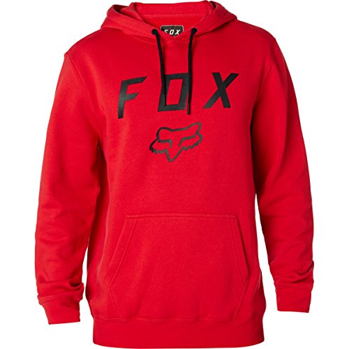 Fox Men's Standard Fit Legacy Logo Pullover Hooded Sweatshirt, Dark Red, L