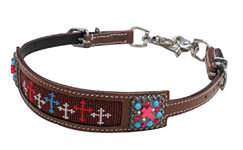 Showman Red White Blue Beaded Cross Leather Wither Strap Barrel Racing 2 Trigger Snaps