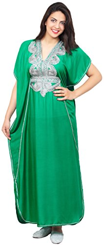 Moroccan Caftan Handmade Light Weight Cotton Silver Hand Embroidery Breathable Soft Green by Moroccan Caftans