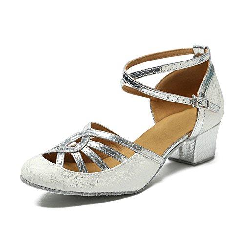 Kevin Fashion Kl220 Dames Lage Hak Synthetische Latin Salsa Tango Prom Pumps Schoenen Wit-5cm Hak