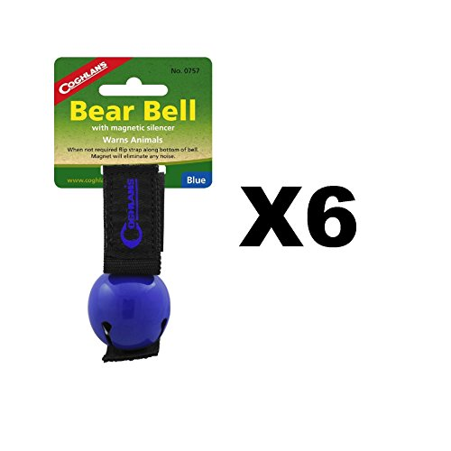 Coghlan's Bear Bell Blue w/Magnetic Silencer & Loop Strap Warns Animals (6-Pack) by Coghlan's