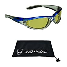 Chrome Motorcycle Sunglasses Foam Padded with Anti Glare Smoke lenses for Men and Women (Yellow Blue)