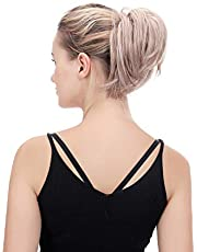 Oubeca Tousled Synthetic Hairpiece Scrunchies Straight Elastic Updo Scrunchy Bun For Women (4-4B)