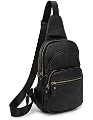SIFINI Mini Genuine Leather Sling Bag Sport Chest Bag Multipurpose Daypacks