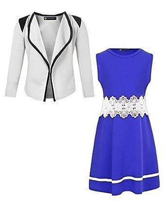 LotMart Girls Sleeveless Dress and Blazer Bundle (Pack of 2)