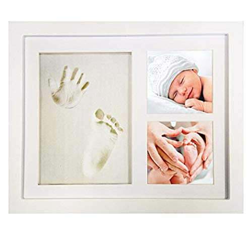 JANGO Wooden Keepsake Photo Frame for Newborn Baby, Hand & Footprint Picture Frame Kit with Non-Toxic Clay (White)