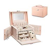 Vlando Jewelry Box, mediano organizador de joyas de cuero de imitación, regalo de época para mujeres -Pink-Cross Pattern