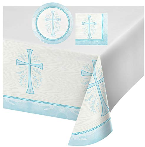 Inspirational Religious Party Supplies: Bundle Includes Dessert Plates, and Napkins for 8 People, Plus a Table Cover, in a Divinity Cross Design (Blue)