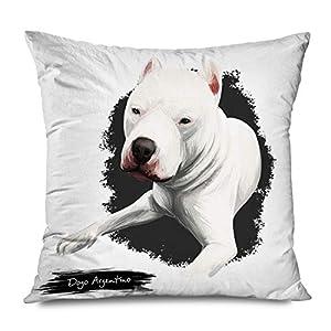 Ahawoso Throw Pillow Cover Square 18x18 Club Animalia Dogo Argentino Argentine Mastiff Animals Wildlife Biology Breed Canine Canis Lupus Decorative Pillowcase Home Decor Zippered Cushion Case 2