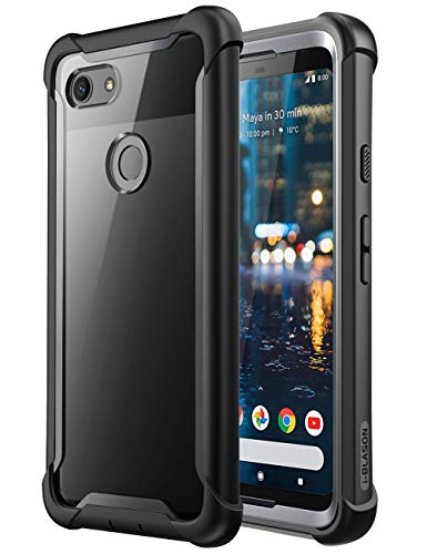 Google Pixel 3 Case, i-Blason [Ares] Full-Body Rugged Clear Bumper Case with Built-in Screen Protector for Google Pixel 3 2018 Release (Black)