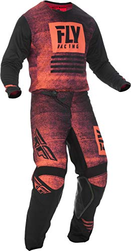 Fly Racing - 2019 Kinetic Noiz (Mens NEON RED & Black Large/34W) MX Riding Gear Combo Set, Motocross Off-Road Dirt Bike Light Weight Durable Jersey & Mesh Comfort Liner Stretch Pre Shaped Knees Pant (Used Dirt Bikes For Sale In Michigan)