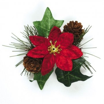 Poinsettia Pan - Poinsettia and Ivy Spray Cake Decoration - 10cm