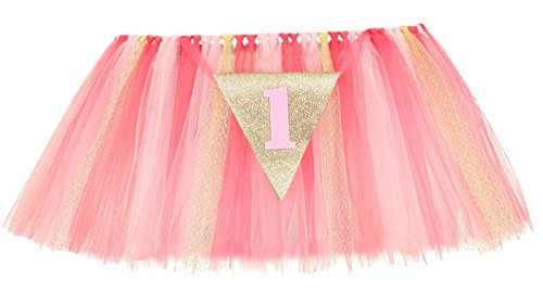 PoshPeanut 1st Birthday Tutu Skirt for High Chair Party Decorations for Your Special Day (Pink/Gold) (Princess Pink Chair)