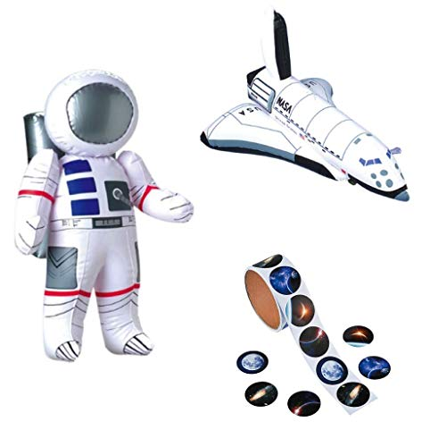 William & Douglas Space & Astronaut Party Bundle | Party Favors Include Realistic Photo Space Stickers, Inflatable Astronaut, Inflatable Space Shuttles -