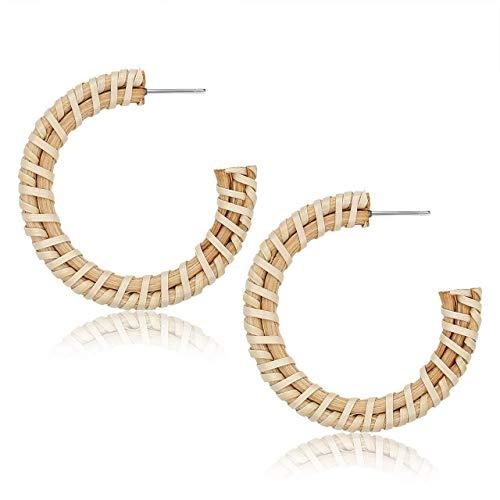 Miweel Rattan Earrings Handmade Straw Wicker Braid Hoop Earrings Lightweight Statement Bohemia Straw Braid Circle Earring for Women Girls