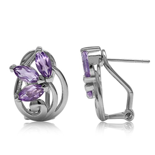 2.16ct. Natural Amethyst Gold Plated 925 Sterling Silver Victorian Style Flower Omega Clip Earrings