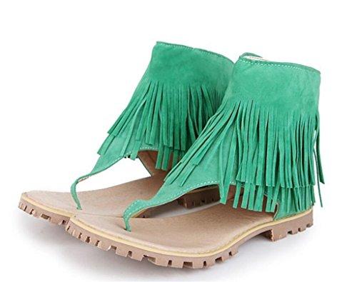 Treffen Quasten Wildleder Damen vorne 32 grün WEIQI Reißverschluss 42 bequem Einkaufen 8cm Sandalen rutschfest TW6zUn