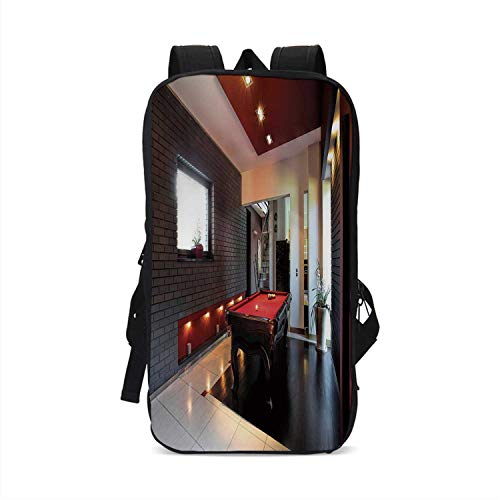 Modern Decor Stylish Compatible with iPad Backpack,House with Snooker Table Hobby Pool Game Flat Furniture Leisure Time Print for School Office,One Size