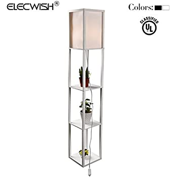 Amazon.com: Simple Designs LF1014-WHT Floor Lamp Etagere Organizer ...