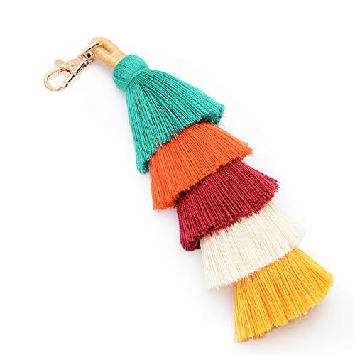 Tassel Pom Pom Key Chain Colorful Boho Charm Key Ring, Fashion Accessories for Women (F-colorful)