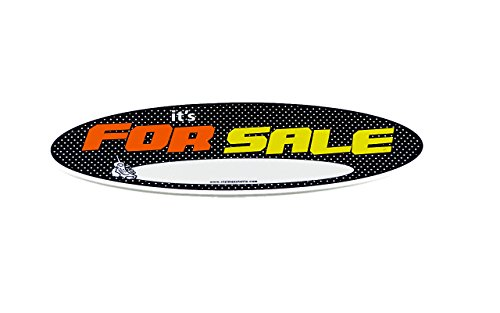"MINI Size Visimax Statix ""IT'S FOR SALE"" Decal Sign, HIGH IMPACT FLUORESCENT VISIBILITY For Sale Sign for your Car, Boat, Truck, Motorcycle - Attaches To INTERIOR/EXTERIOR Of Window Or Flat Panel"