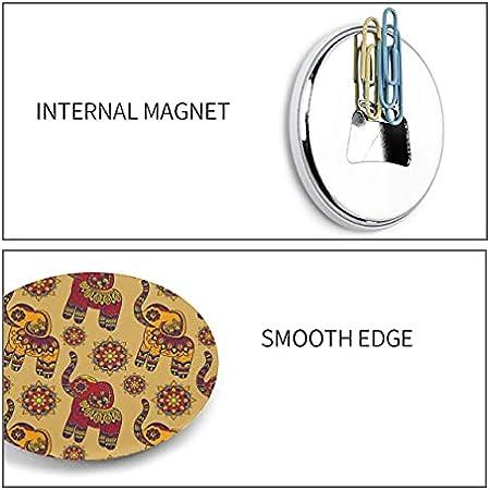 Abrebotellas de elefante étnico de loto indio de vector gráfico vintage 2 imanes redondos abridor de botella de cerveza magnético para nevera