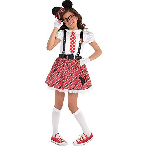 Costumes USA Minnie Mouse Nerd Costume for Girls, Size Medium, Includes a Dress, Glasses, Gloves, a Headband, and More