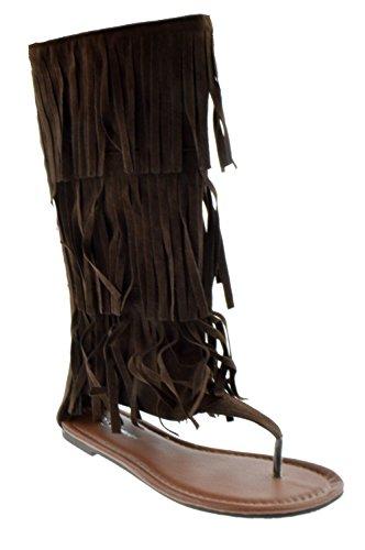 Forever Anika 66 Womens Fringe Thong Flat Gladiator Sandals Brown 6.5 - Fringe Thong Sandals