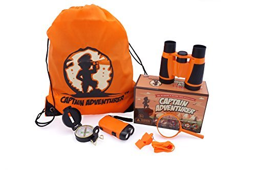 Crystal Forest Loop - Outdoor Explorer Kit for Adventure Kids | Toys Binoculars, Flashlight, Compass, Magnifying Glass, Whistle & Backpack. Summer Kidz Gift Set for Boys & Girls, Camping, Hiking, Educational & Pretend Play