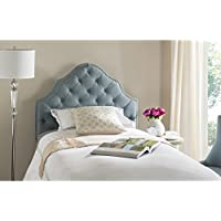 Safavieh Arebelle Sky Blue Upholstered Tufted Headboard - Silver Nailhead (Twin)