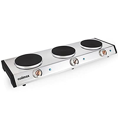 Cusimax 1500W Triple Burner, Stainless Hot Plate, CMHP-S302