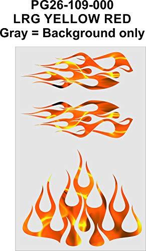 Wild Dingos LLC - STYLE1 Multi-Color Flame Decal Kit Golf Cart, UTV, RC, ATV, Mower, Motorcycle Tank (A - Small, PG26-109-000 LRG Yellow RED)
