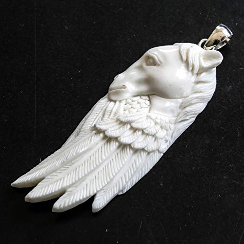 3'' Handcrafted Equestrian Horse Feathers Bison Bone Sterling Silver Pendant YE-2297
