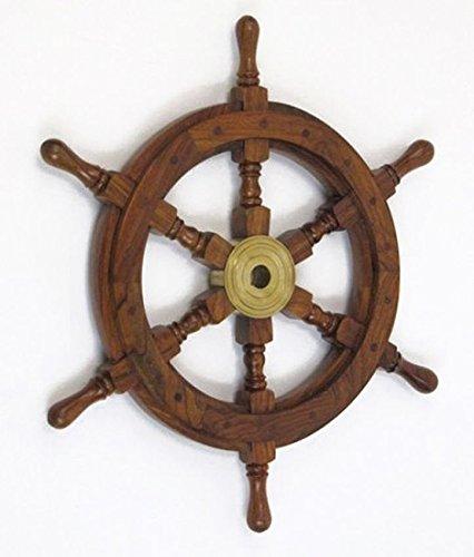 Teak Pirate Ship'S Steering Wheel 18