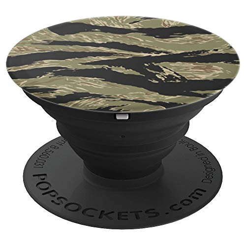 Tiger Camo Vietnam War Army Military Veteran Jungle Green PopSockets Grip and Stand for Phones and Tablets