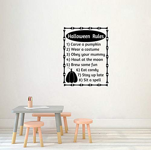 xiaomeihao Halloween Rules Words Letters Fall Halloween Decor Art PVC Wall Sticker 74X56Cm ()