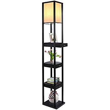 Brightech Maxwell LED Drawer Edition Shelf Floor Lamp U2013 Modern Asian Style Standing  Lamp With Soft Diffused Uplight White Shade  Wooden Frame With Open Box ...