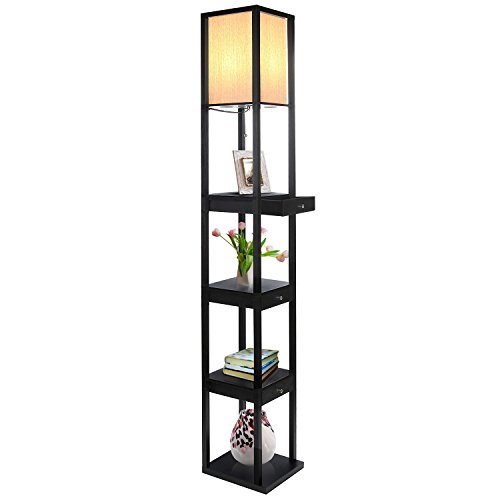 Brightech Maxwell LED Drawer Edition Shelf Floor Lamp – Modern Asian Style Standing Lamp with Soft Diffused Uplight White Shade- Wooden Frame with Open Box Display Shelves & Drawers - Classic Black (Shelving Frame)
