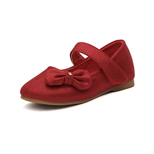 - DREAM PAIRS Angel-5 Adorable Mary Jane Side Bow Buckle Strap Ballerina Flat (Toddler/Little Girl) New Red-Suede Size 10