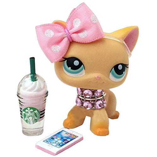Noa Store Littlest Pet Shop Clothes LPS Accessories (Lot Bow Starbucks Necklace & Phone)