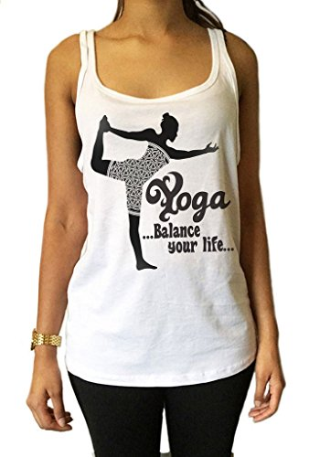 Irony Maglia Top Om Yoga Equilibra la Tua Vita Meditazione Posa JTK1098