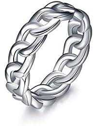 Sterling Silver Sturdy Cuban Knot Link Chain Wedding Eternity Band Ring for Women Girls Unisex Men Boys
