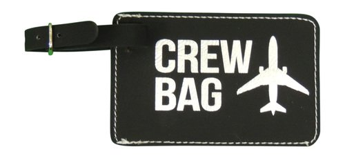Crew Bag Tag, Set of Two with Graphic (Black Leather)