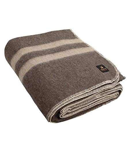 Thick Alpaca Wool Blanket - Heavyweight Alpaca Wool Blanket for Camping Outdoors or Using Indoors   Soft Peruvian Alpaca Wool Blankets Twin Queen King Size (Queen, Soft Brown - Beige Stripes)