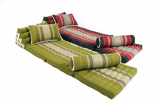 Thai Triangle Mats and Pillows Mix Set 100% Kapok Filling Thai Fabric (Bamboogreen & Burgundy&Black) by Handelsturm