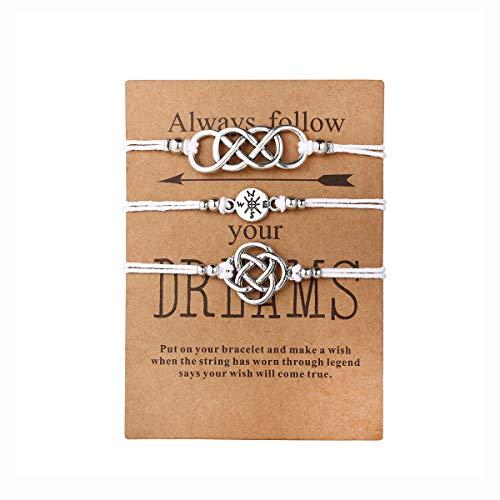 17mile 3Pcs White Friendship Cotton Rope Bracelet Set Handmade Compass Celtic Knot Bead Adjustable with Wish Card Charm Bracelets Jewelry (Knot Friendship Celtic)