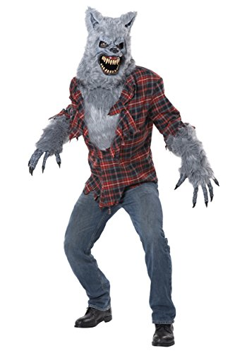 California Costumes Men's Gray Lycan Vampire Werewolf Full Fur Costume, Red/Gray, Small/Medium -